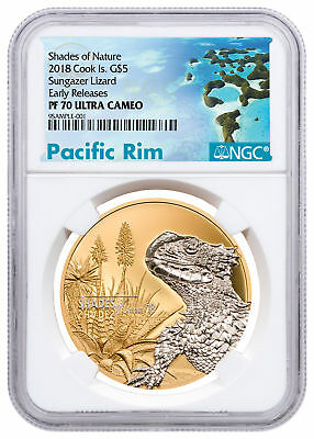 2018 CI Shades Nature - Sungazer Lizard 1 oz Silver Gilt NGC PF70 UC ER SKU53327