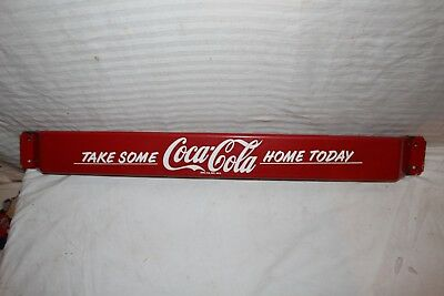 "Rare Vintage 1950's Coca Cola Soda Pop 32"" Porcelain Metal Door Push Bar Sign"
