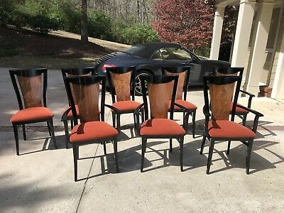 Costantini Pietro Black Lacquer Dining Chairs   Set Of 8