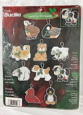 Bucilla Counted Cross Stitch Ornaments 10 Holiday Critters  84644 New USA Made