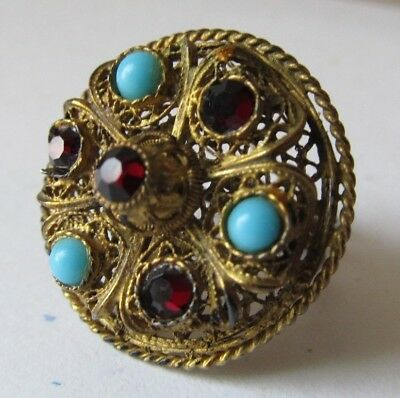 Antique 1960s CHINESE Gilt Filigree Adjustable RING Turquoise RED STONES