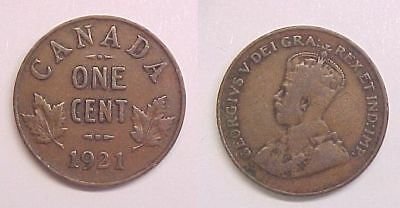 1921 Cent Canadian Canada George V Good - Very Good G - VG