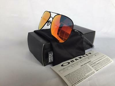e4ddc82d051 New Oakley ELMONT L Sunglasses Large Satin Black Ruby Iridium Aviator  Authentic
