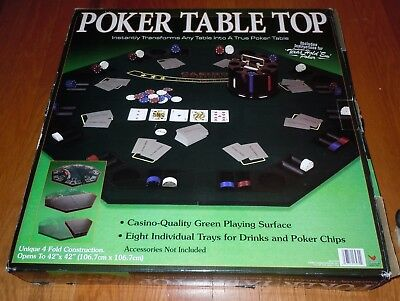 """Cardinal Poker Table Top 42"""" Casino-Quality Green Playing Surface 4 Fold /in Box"""