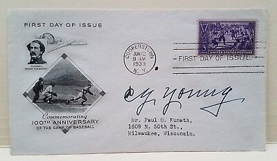 CY YOUNG signed 1939 Commemorative FDC envelope 100th Anniversary Baseball