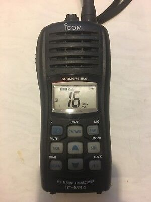 Icom IC-M34 VHF Marine Transceiver with charging base WORKS GREAT EUC NO RESERVE