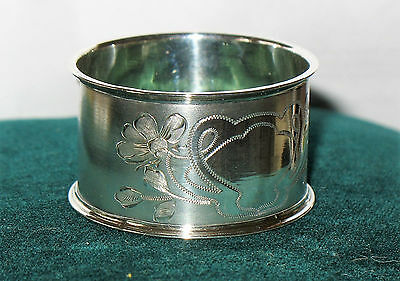 """Antique 830 Silver Napkin Ring Marked 830S 1"""" X 1.75"""" Chased Floral Design"""