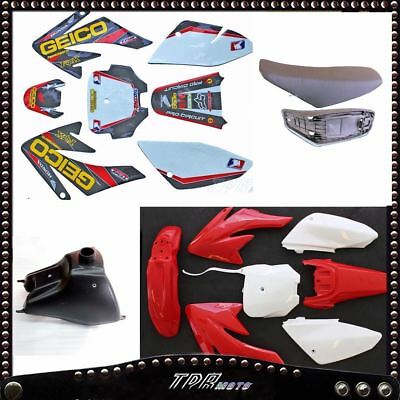 Red Plastics + decals + Gas Tank + Seat for CRF70 Copies Style Models Dirt Bike