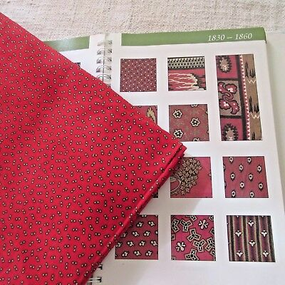 """24"""" Antique 1800'S Turkey Red black tan Calico Quilt Fabric Small Print dolls ½"""