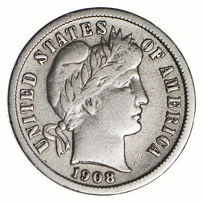 10c - Choice - 1908 - Barber Dime - Look at the Detail! *146