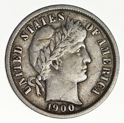 10c - Choice - 1900 - Barber Dime - Look at the Detail! *143