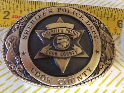 Cook County Sheriff's Police Department Brass Badge Belt Buckle Custom Made