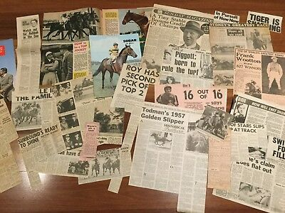 1940s to 1990s VARIOUS NEWSPAPER LOOSE CLIPPINGS ON HORSE RACING