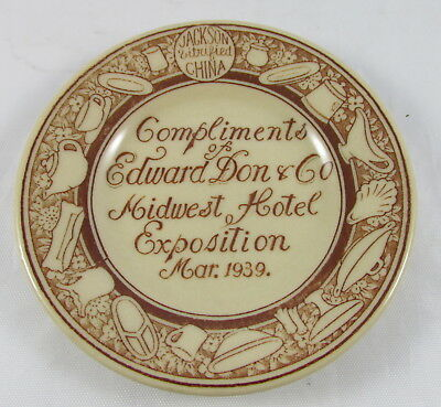 1939 Plate Advertising Compliments Edward Don&Co Midwest Hotel Exposition