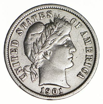 10c - Choice - 1901 - Barber Dime - Look at the Detail! *140