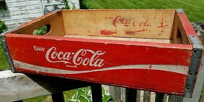 Vintage Coca Cola Dual Handled Painted Wooden Box Crate Tray  w/ Metal Supports