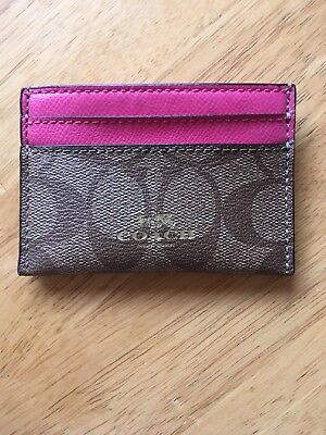 Coach Signature Credit Card Holder - Brown/Pink