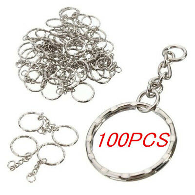 50/100Pcs Keyring Blanks Silver Tone Key Chains Findings Split Rings4 Link Chain