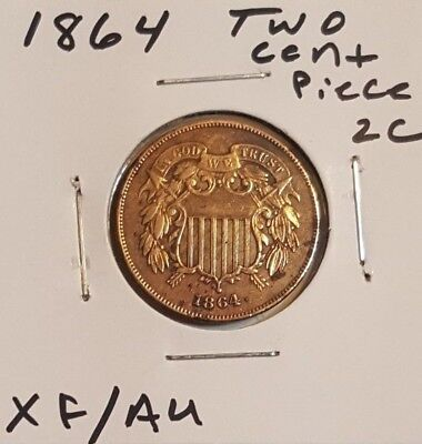 1864 2c Two Cent Piece - Really Nice XF/AU coin!