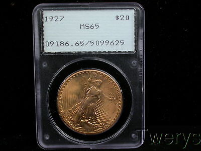 1927 Saint Gaudens Gold $20 Double Eagle Pcgs Ms 65 Old Rattler Holder