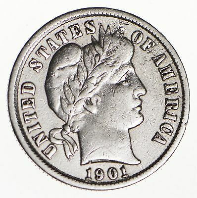 10c - Choice - 1901 - Barber Dime - Look at the Detail! *142