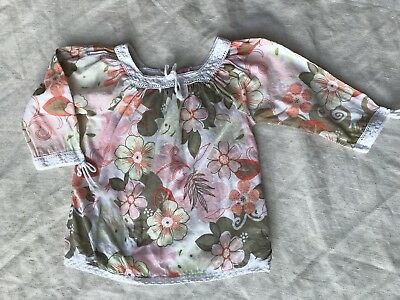 00 3-6 month Floral Pattern Boho Smock Autumn Pink/ Green Top By Sprout
