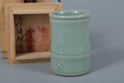 M3607: Korean Goryeo celadon Bamboo joint-shaped container for chakin/tea cloth
