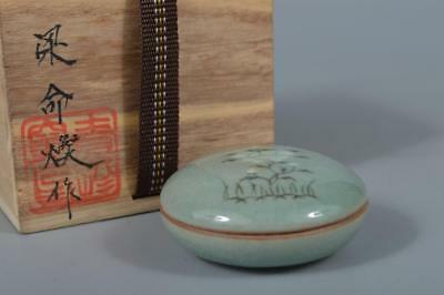 M3606: Korean Goryeo celadon Flower inlay INCENSE CONTAINER w/signed box