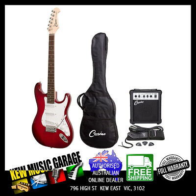 Casino St-Style Electric Guitar And 10 Watt Amplifier Pack Trans Wine Red