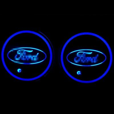 1Pair 2X LED Car Cup Holder Pad Auto Interior Atmosphere Light Colorful for Ford