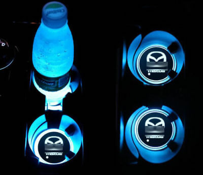 2Pcs Colorful LED Auto Atmosphere Lights Car Cup Bottle Holder Pad Mat for MAZDA