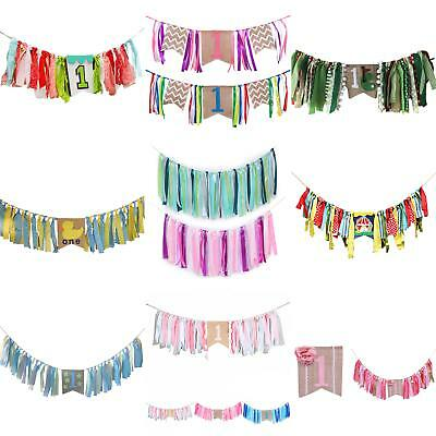 Kids Baby Birthday Highchair Banner Rag Tied Home Party Wall Garlands Decor Firm