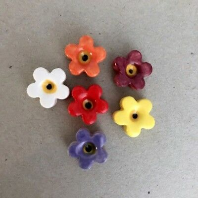 12mm CERAMIC FLOWERS (x6) - Multicoloured ~ Ceramic Mosaic Tiles