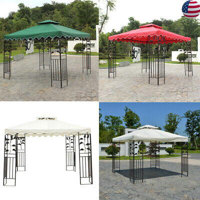 10'x10'ft 2 Tiers Replacement Canopy Top Patio Pavilion Gazebo Sunshade Cover US