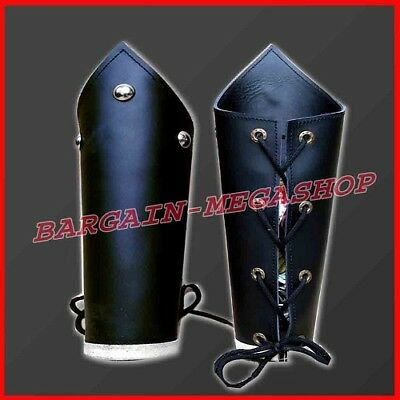 READY Medieval Knights Leather Arm Bracers Arm Guards Lace up Warrior Costume s1