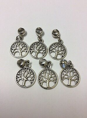 Bulk Tree of Life round antique silver alloy dangle charm acrylic smooth bail x6