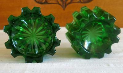 Antique/vintage Two Green Depression Glass Piano Caster Cups