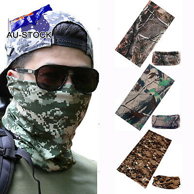 AU-STOCK Men Outdoor Cycling Camo Tube Scarf Bandanas Face Mask Head Neck Snood