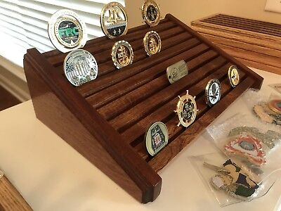Military Challenge Coin Holder / Display 80 Coin Mahogany Stadium Desk Style