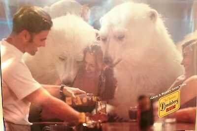 Vintage 1990's Bundaberg Rum Promo Poster Barware Poolroom Bar Polar Bears