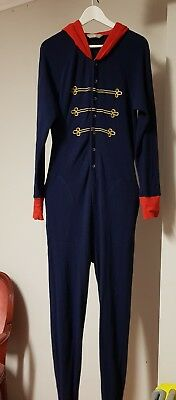 Peter Alexander blue, gold and red hooded one piece PJs