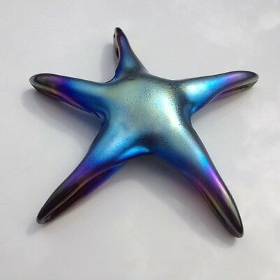 John Anthony Studio Art Glass Iridescent Starfish Shape Paperweight Signed