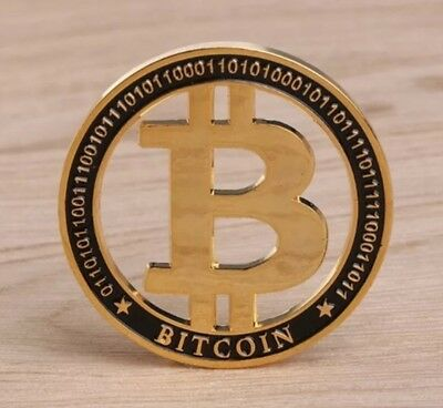 Cut Out Bitcoin Coin Medallion Finished In 24k Gold Plated Collectable 40mm