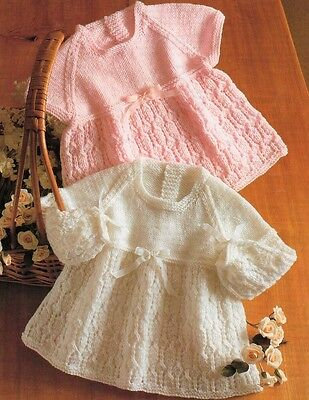Baby knitting pattern Lacy Dresses 4 & 6 ply copy Babies Toddler + Premmie Size