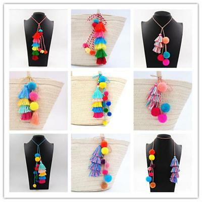 Rabbit Fur DIY Pompom Ball Handbag Car Pendant Tassel Charm Key Chain Keyring AU