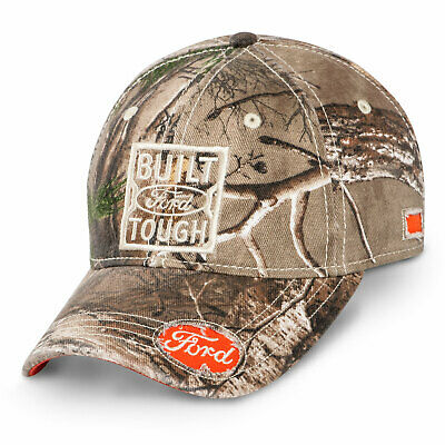 Real Tree Ford Built Ford Tough Baseball Cap With Blaze Orange Accents Camo Hat