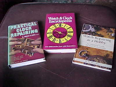 3 x VINTAGE CLOCK AND WATCH REPAIRING BOOKS : De CARLE & FLETCHER