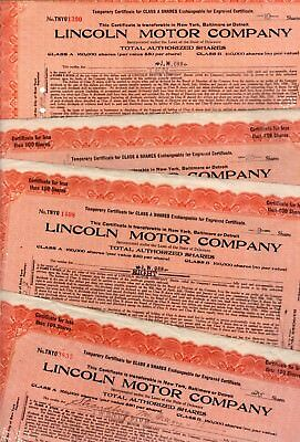 Lincoln Motor Company 1920 Stock Certificate - small border tears -staple holes