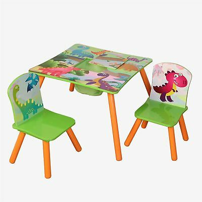 Childrens Wooden Dinosaur Table And 2 Chairs Set Kids Playroom Bedroom Furniture