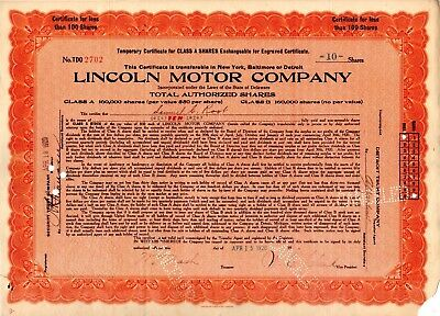 Lincoln Motor Company 1920 Stock Certificate - corner torn - only $3.99